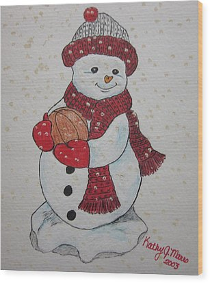 Snowman Playing Basketball Wood Print by Kathy Marrs Chandler