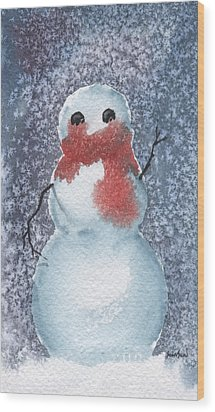 Snowman Wood Print by Sean Seal