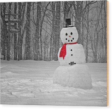 Snowman Wood Print by Steven Michael