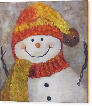 Wood Print featuring the painting Snowman V - Christmas Series by Cheri Wollenberg