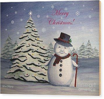 Snowman's Christmas Wood Print