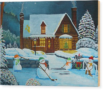 Snowmans Hockey Wood Print by Anthony Dunphy