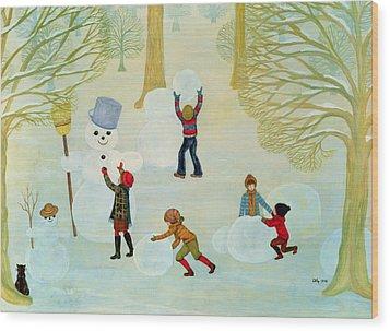 Snowmen Wood Print by Ditz