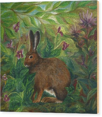 Snowshoe Hare Wood Print by FT McKinstry