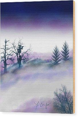 Snowstorm In Catskill Ipad Version Wood Print by Frank Bright