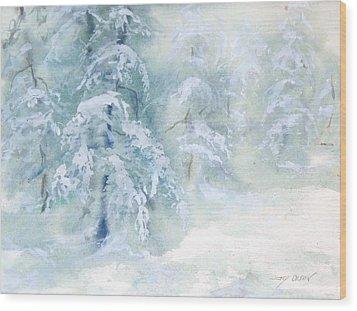 Snowstorm Wood Print by Joy Nichols