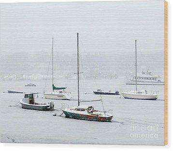Snowstorm On Harbor Wood Print by Ed Weidman