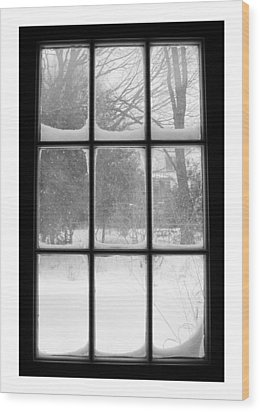 Snowstorm Outside The Windowpanes Wood Print by Patricia E Sundik