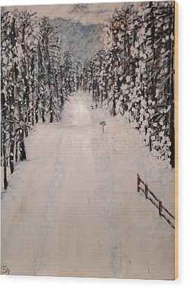 Snowy 27th Wood Print by Leslie Byrne