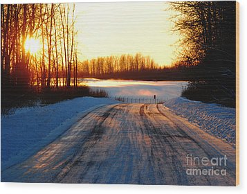 Snowy Anchorage Sunset Wood Print