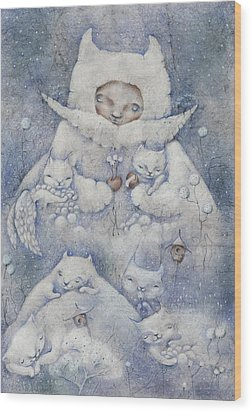 Snowy And Tender Wood Print by Anna Petrova