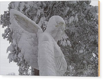 Snowy Angel Wood Print by Kevin Croitz