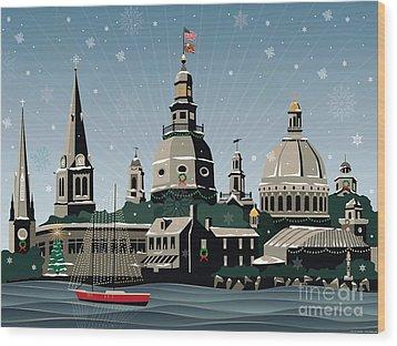 Snowy Annapolis Holiday Wood Print