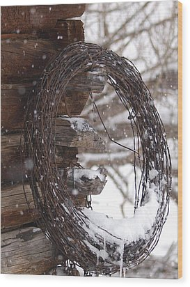 Snowy Barbed Wire Wood Print