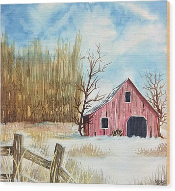 Wood Print featuring the painting Snowy Barn by Rebecca Davis