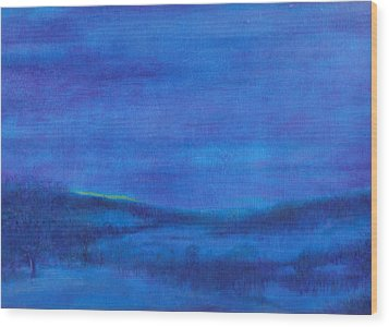 Snowy Blue Nocturne Wood Print