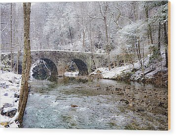 Snowy Bridge Along The Wissahickon Wood Print by Bill Cannon