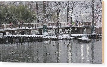 Snowy Bridge Wood Print