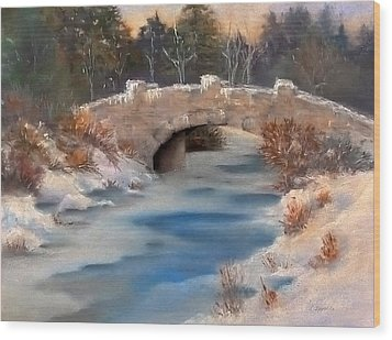 Wood Print featuring the pastel Snowy Bridge by Lori Ippolito