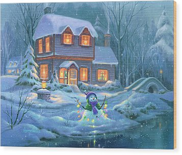 Snowy Bright Night Wood Print by Michael Humphries