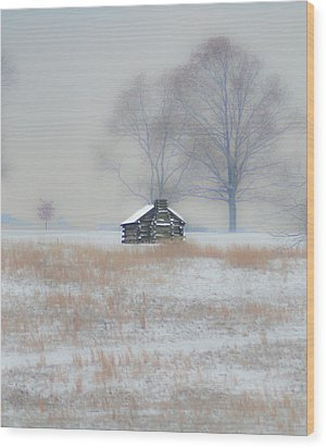 Snowy Cabin At Valley Forge Wood Print by Bill Cannon