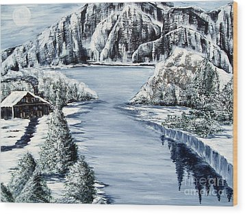 Snowy Cabin By The Lake Wood Print