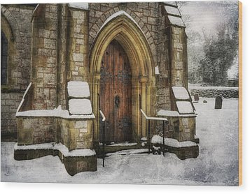 Snowy Church Door Wood Print