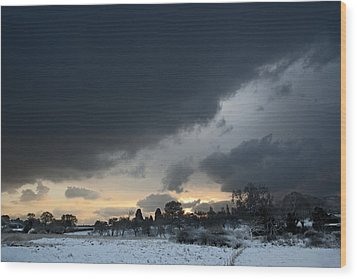 Wood Print featuring the digital art Snowy Dawn by David Davies