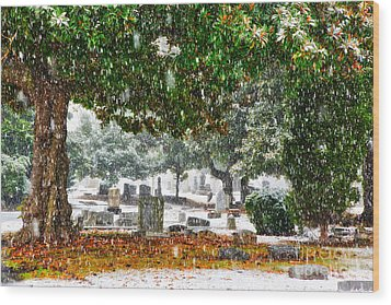 Snowy Day At The Cemetery - Greensboro North Carolina Wood Print by Dan Carmichael