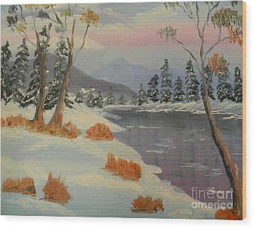 Snowy Day In Europe Wood Print by Pamela  Meredith