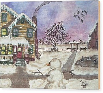 Wood Print featuring the painting Snowy Day by The GYPSY And DEBBIE