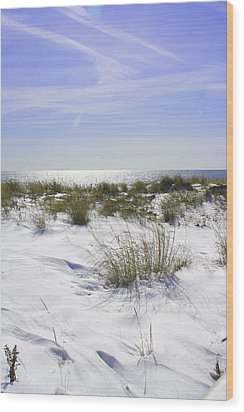 Wood Print featuring the photograph Snowy Dunes by Karen Silvestri
