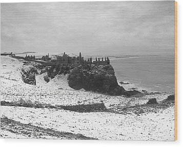 Wood Print featuring the photograph Snowy Dunluce 12/02/14 by Roy  McPeak