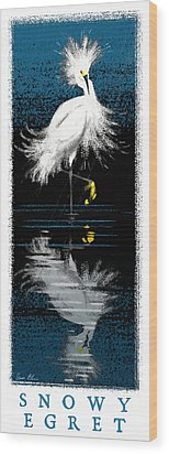 Wood Print featuring the digital art Snowy Egret by Aaron Blaise