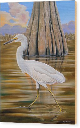 Wood Print featuring the painting Snowy Egret And Cypress Tree by Phyllis Beiser
