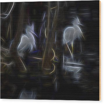 Wood Print featuring the digital art Snowy Egrets 1 by William Horden