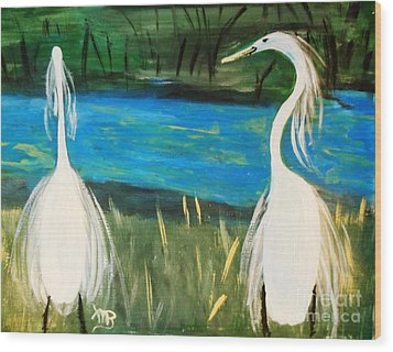 Snowy Egrets At The Pond Wood Print by Marie Bulger