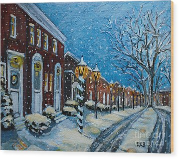 Wood Print featuring the painting Snowy Evening In Garden Crest by Rita Brown