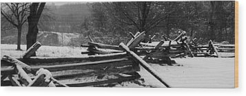 Snowy Fence Wood Print by Michael Porchik