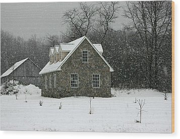 Wood Print featuring the photograph Snowy Garage by Andy Lawless