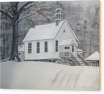 Snowy Gates Chapel  -little White Church - Ellijay Wood Print