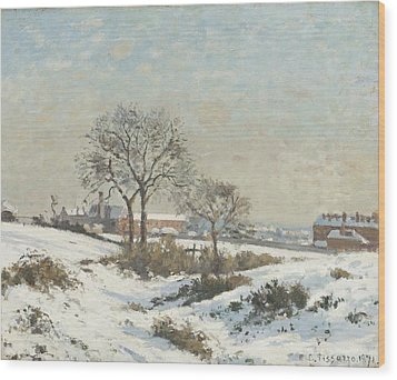 Snowy Landscape At South Norwood Wood Print by Camile Pissarro