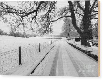 Snowy Lane Wood Print by Adrian Evans