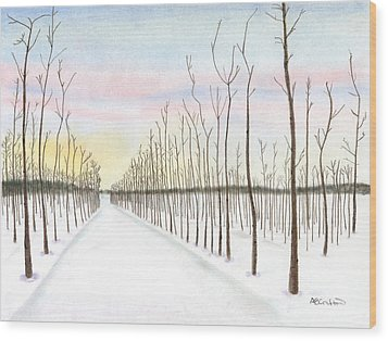 Wood Print featuring the drawing Snowy Lane by Arlene Crafton