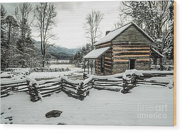 Wood Print featuring the photograph Snowy Log Cabin by Debbie Green