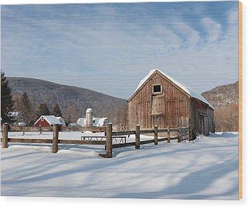 Snowy New England Barns Wood Print by Bill Wakeley