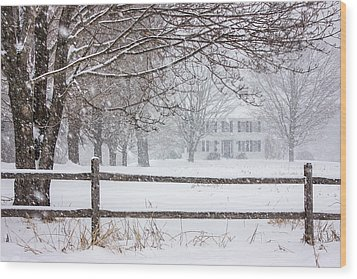 Snowy New England Wood Print