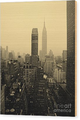 Snowy New York Skyline Wood Print
