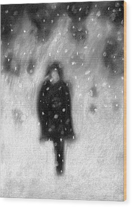 Snowy Night Wood Print by Angie Brown