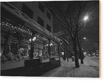 Snowy Night In Burlington Wood Print by Mike Horvath